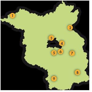Übersicht der Mitgliedsunternehmen, Karte